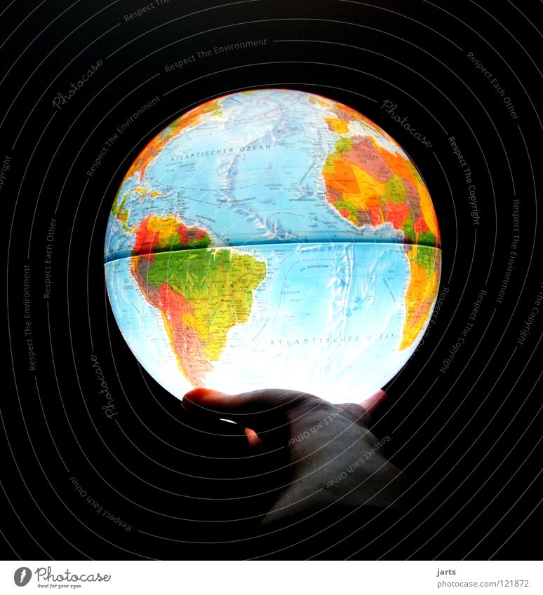 Hand Ocean Environment Earth Illuminate Round Universe Symbols and metaphors To hold on Peace Africa Environmental protection Map Americas Globe