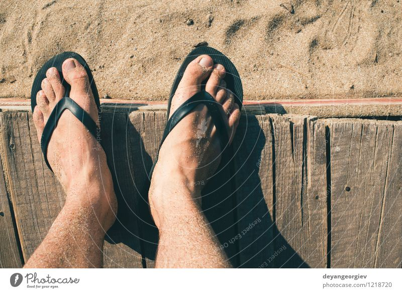 Foot in thongs Vacation & Travel Man Blue Summer White Relaxation Ocean Red Joy Beach Adults Feet Sand Leisure and hobbies Waves Footwear