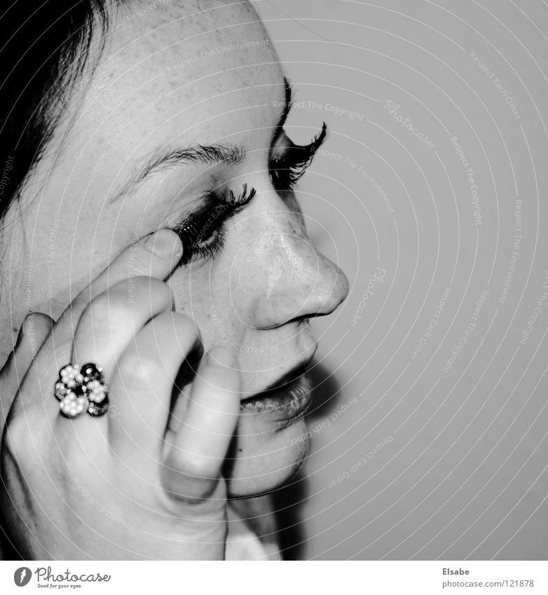 Woman White Beautiful Flower Black Face Eyes Feminine Skin Mouth Nose Circle Lips Mirror Make-up Snapshot