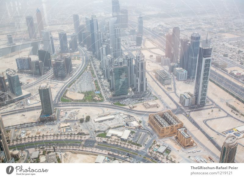 from above Dubai Brown Yellow Gray Green Orange Black Silver White Skyline High-rise Decadence Sand House (Residential Structure) Town Manmade structures Warmth