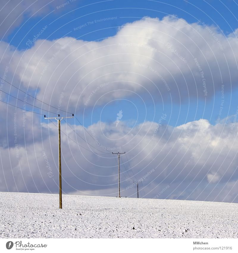 Sky White Blue Winter Clouds Snow Bright Field Energy industry Electricity To go for a walk Electricity pylon High voltage power line Sky blue Absorbent cotton Azure blue