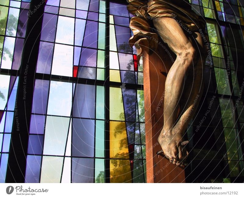 Abused nail Legs Feet Exhibition Window Wood Glass Hope Belief Respect Religion and faith Stained glass Jesus Christ Crucifix Christianity Statue Church window