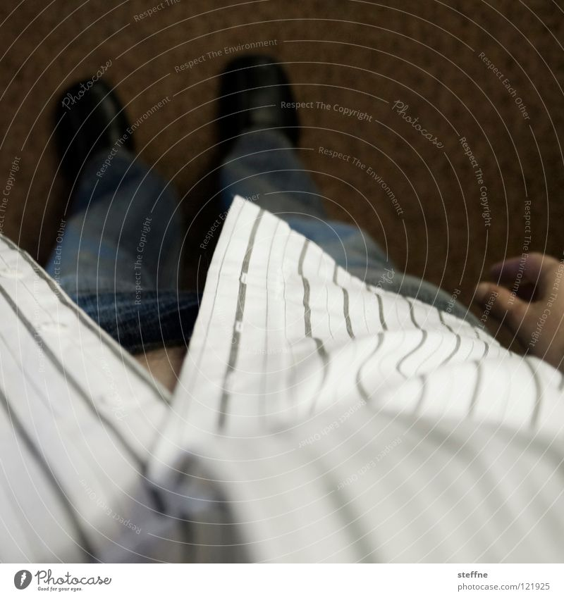 Looking down from above Shirt Pants Footwear Carpet Hand Man Downward Arrogant Stripe Pattern First person view Boredom Clothing Jeans Floor covering Think