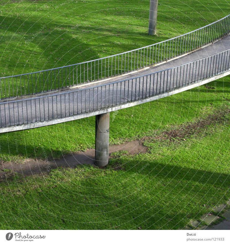 Green Meadow Above Gray Grass Park Concrete Bridge Manmade structures Handrail Column Upward Spiral Racecourse Intoxication Downward