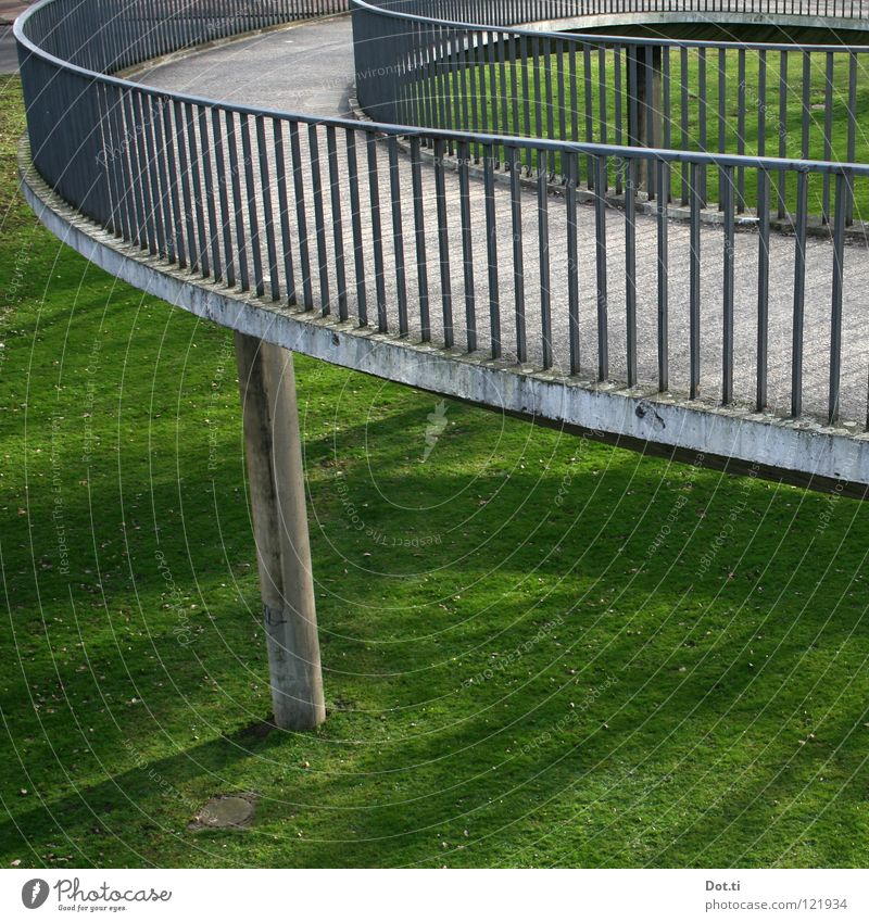 Green Meadow Above Grass Gray Lanes & trails Park Concrete Bridge Round Manmade structures Traffic infrastructure Curve Upward Handrail Construction