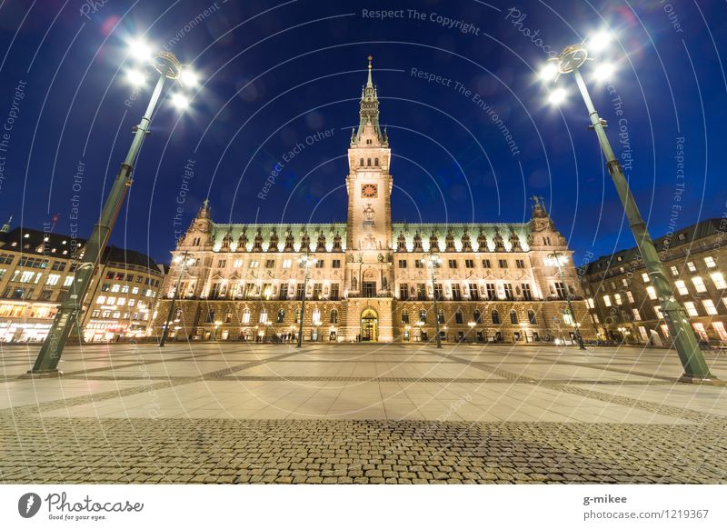 Hamburg City Hall Town Port City Downtown Deserted City hall Manmade structures Building Architecture Tourist Attraction Large Bright Colour photo Exterior shot