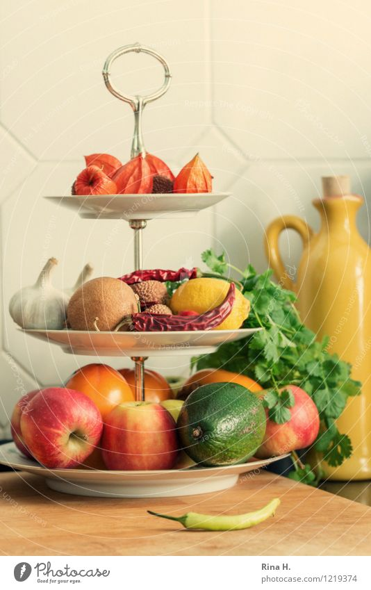 KitchenStill Vegetable Fruit Herbs and spices Organic produce Vegetarian diet Crockery To dry up Authentic Fresh Healthy Delicious Etagere Bottle Tile Apple