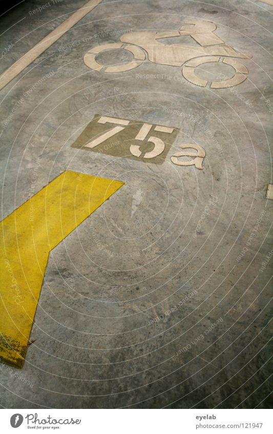 floor covering Asphalt Tar Concrete Paving tiles Stripe Yellow White Gray Typography Digits and numbers 75 Motorcycle Icon Parking garage Garage Parking lot