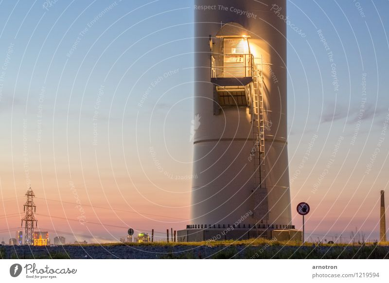 The Door is up there Technology Wind energy plant Landscape Sky Cloudless sky Night sky Summer Grass Hamburg Town Outskirts Deserted Industrial plant Tower