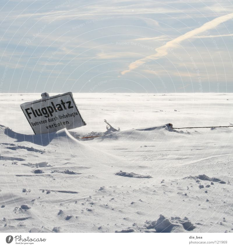 ... good start Airfield Beginning Snow White Fence Barrier Loneliness Winter Cold Flying Signs and labeling Sky Landscape