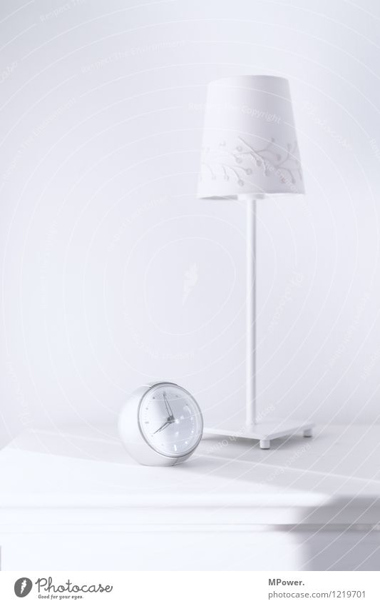 just before eight Clock Technology Cool (slang) Bright Alarm clock Lamp White Bedside table Furniture Clock hand Morning grouchiness Bedroom Table lamp