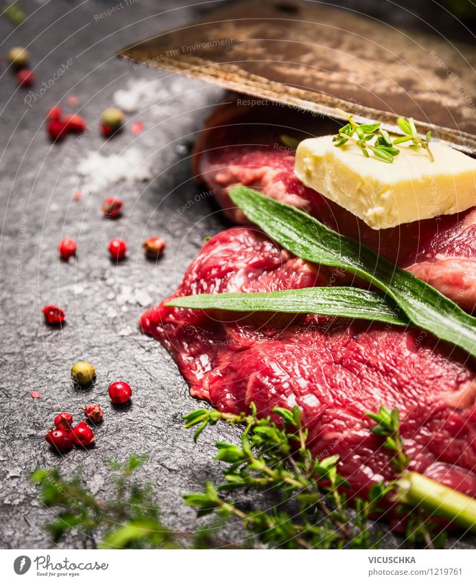 Organic meat with herbs, butter and spices Food Meat Dairy Products Herbs and spices Nutrition Dinner Banquet Organic produce Knives Style Design Healthy Eating