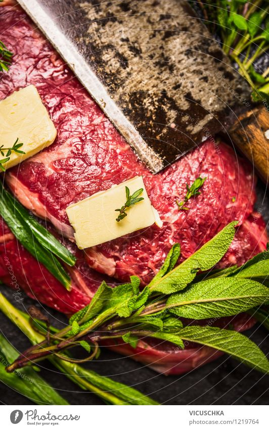 Meat, herbs, butter and knives Food Dairy Products Herbs and spices Nutrition Lunch Dinner Organic produce Knives Style Design Healthy Eating Life