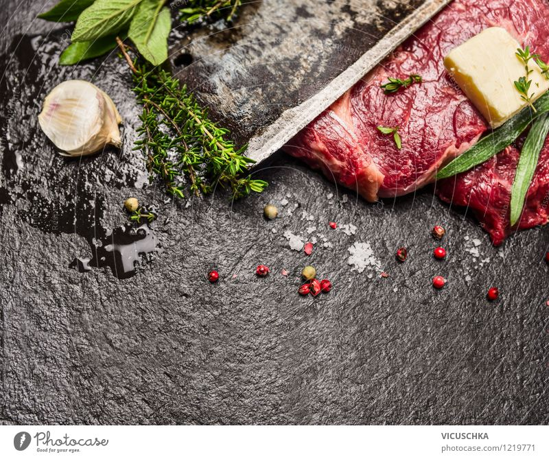 Preparing meat with herbs and spices Food Meat Herbs and spices Lunch Dinner Organic produce Knives Style Design Healthy Eating Life Table Barbecue (apparatus)