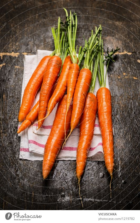 Fresh carrots on a rustic wooden table Food Vegetable Nutrition Organic produce Vegetarian diet Diet Style Design Healthy Eating Life Garden Yellow Nature