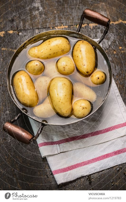 Boil young potatoes Food Vegetable Nutrition Lunch Dinner Banquet Organic produce Vegetarian diet Diet Pot Style Design Healthy Eating Life Table Kitchen Yellow