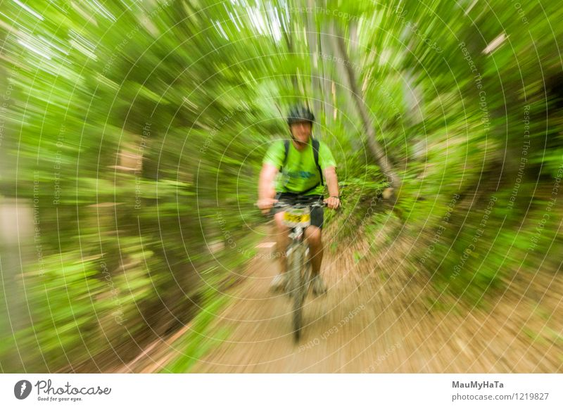 cyclist riding Joy Relaxation Leisure and hobbies Adventure Summer Mountain Cycling Man Adults Tree Hill Rock Lanes & trails Fitness bike Rider Guy Action ride