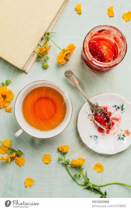 Tea, jam, book and flowers. Summer breakfast. Food Jam Nutrition Breakfast Organic produce Vegetarian diet Beverage Plate Cup Spoon Style Design Life