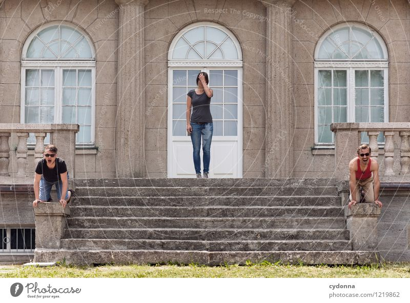 Acceptable Lifestyle Human being Young woman Youth (Young adults) Young man 3 Group 18 - 30 years Adults Sculpture Culture Architecture Stairs Facade Window