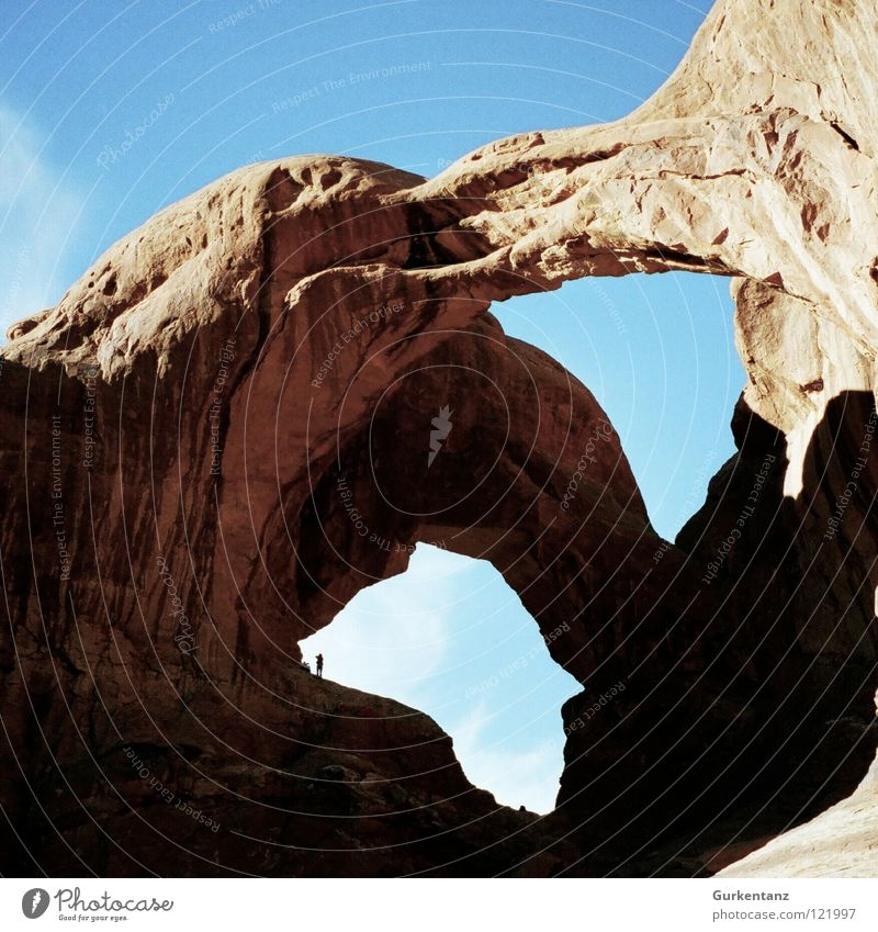 double-heart chamber Arches National Park Utah Americas North America Hole puncher Window USA Desert Stone Minerals Hollow