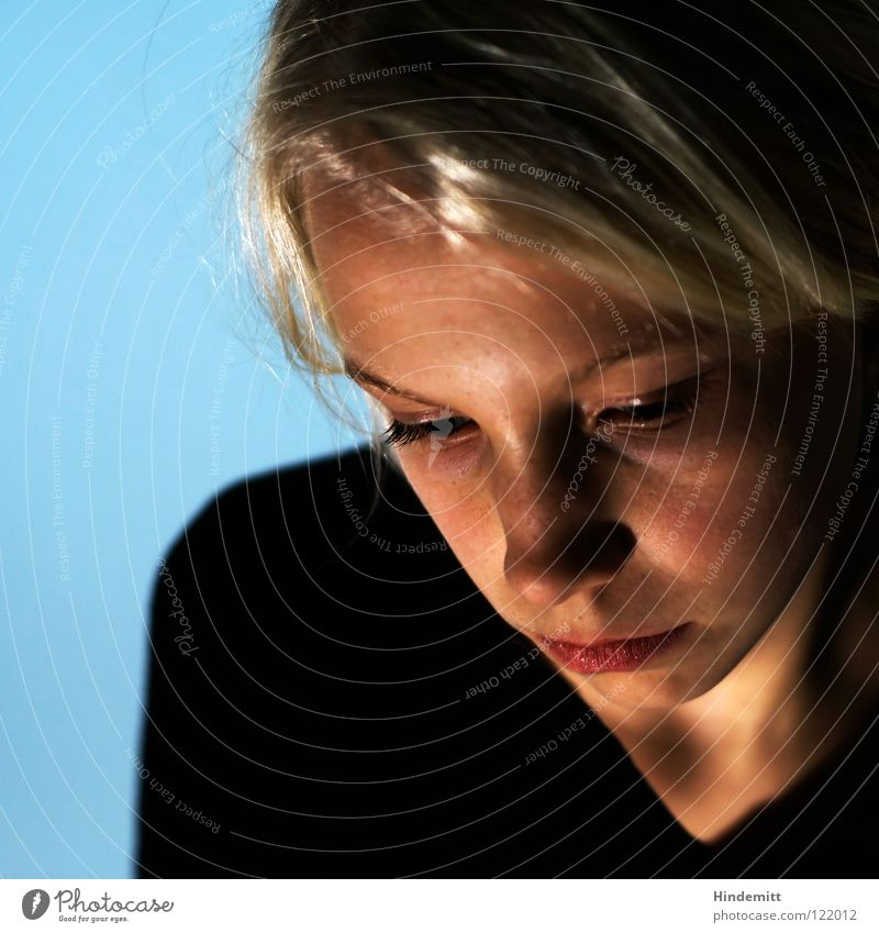 Blue Beautiful Calm Black Face Eyes Dark Wall (building) Hair and hairstyles Head Sadness Think Bright Blonde Mouth Skin