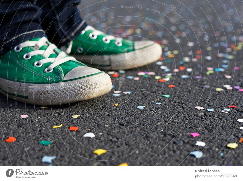 AK# Green shoe I Art Esthetic Contentment Party Party mood Party guest Party service Footwear Carnival Carnival procession Confetti Multicoloured