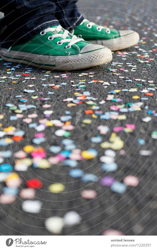 AK# Green Shoe III Art Esthetic Contentment Footwear Confetti Carnival Many Multicoloured Youth culture Stand Wait Colour photo Subdued colour Exterior shot