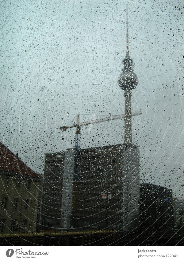 Perl Edition / Panorama Winter Construction site Water Drops of water Bad weather Rain Downtown Berlin Capital city Tower Manmade structures Window Antenna