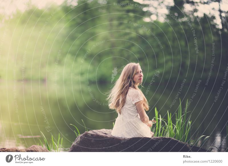 Human being Nature Youth (Young adults) Summer Beautiful Green Young woman Landscape Relaxation Calm 18 - 30 years Adults Environment Natural Feminine Dream