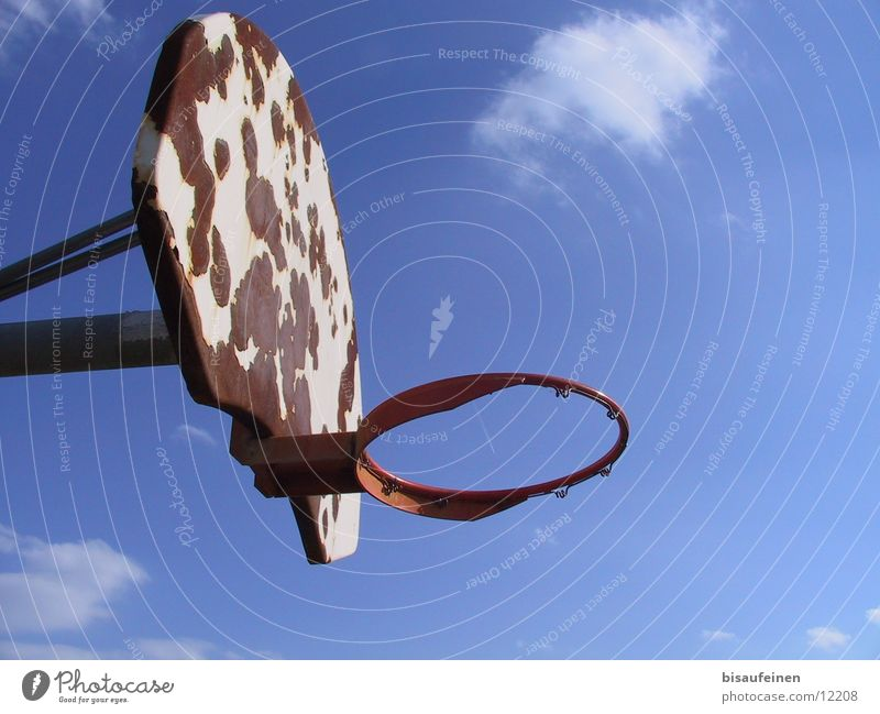 Above the rim Basketball basket Rust Clouds Vapor trail Sky Covers (Construction) Sports