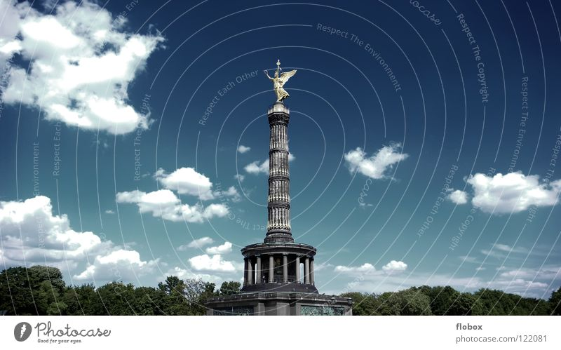Sky Vacation & Travel Summer Clouds Street Berlin Stone Art Germany Gold Large Tourism Success Wing Tower Angel