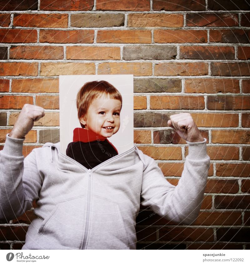 be a child Man Portrait photograph Wall (building) Romp Playing Fist Concentrate Child Childlike Toddler Slip Whimsical Funny Playground Cute Sweet Joy Laughter