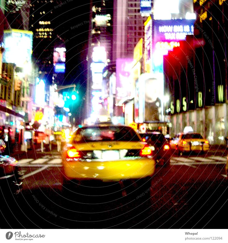 Taxi!!!!! Night In transit Multicoloured Neon sign Night life Joie de vivre (Vitality) New York City Going out Yellow Downtown Light Haste Joy yellow cab Street