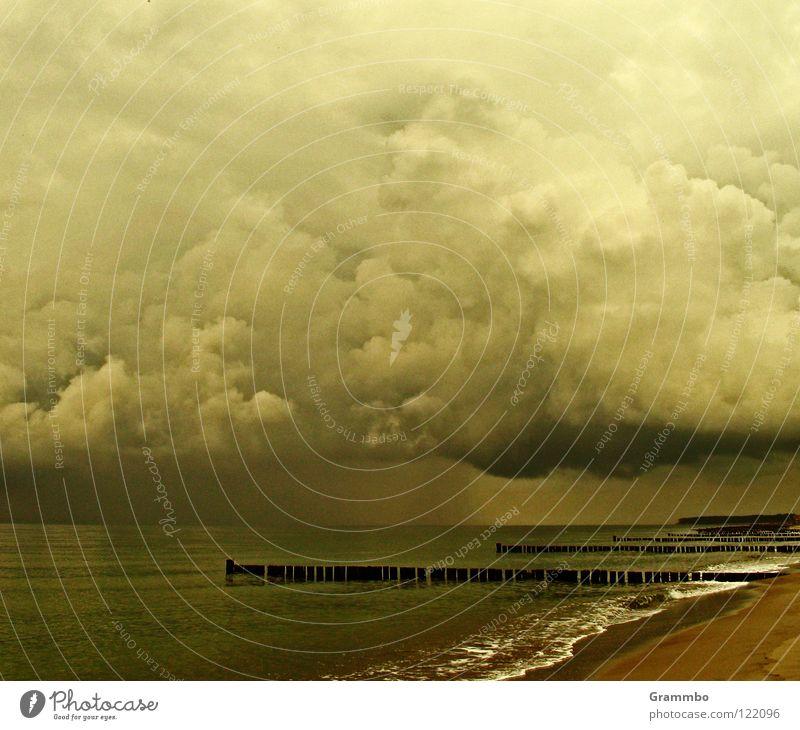 Ocean Beach Vacation & Travel Clouds Dark Sadness Sand Rain Coast Grief Baltic Sea Dreary Cumulus Break water Storm clouds
