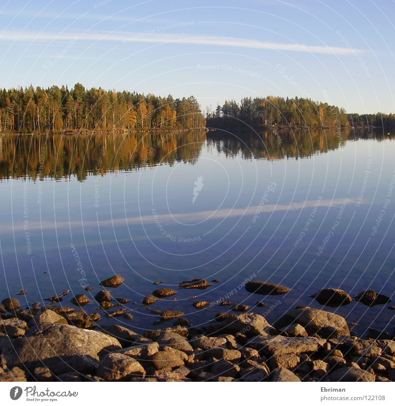 Still Water Lake Tree Clouds Vail Reflection Beach Calm Stripe Green Autumn Waves Coast Forest Peace Island Stone Sky Blue Armsjön Sweden Norrland Orange Nature