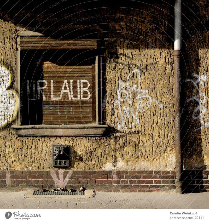 Everyday Longings II Window Concrete Brick Graffiti Arrow Brown Loneliness Gully Rain gutter Street art Daub Roller blind Roller shutter Shop window Barricaded