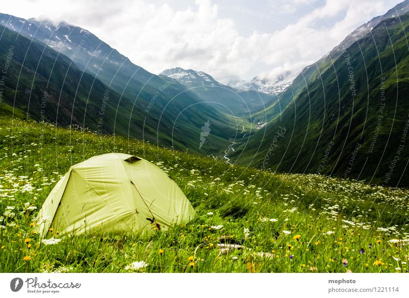 campsite Trip Adventure Camping Summer Mountain Hiking Nature Landscape Sky Clouds Climate Weather Grass Meadow Hill Alps Snowcapped peak Switzerland Deserted