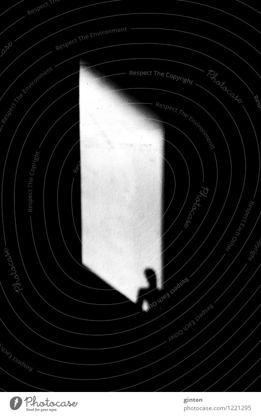 Silhouette in the window Human being Body Head Stone Concrete Observe Stand Dark Sharp-edged Black White Emotions Loneliness Illustration Shaft of light
