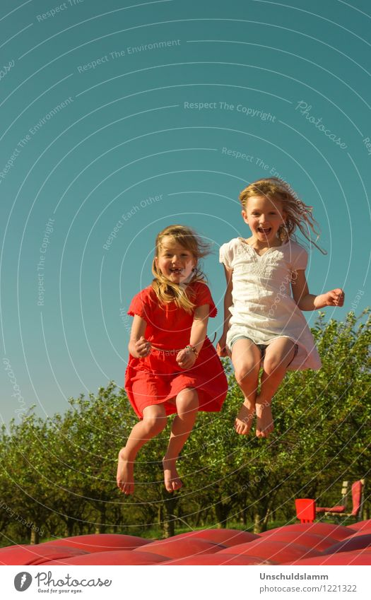 Human being Child Blue Colour White Red Joy Girl Life Emotions Playing Happy Laughter Friendship Jump Leisure and hobbies