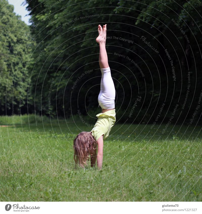 Handstand in the park Playing Sports Fitness Sports Training Yoga Gymnastics Child Girl Infancy Youth (Young adults) Life 1 Human being 8 - 13 years Spring