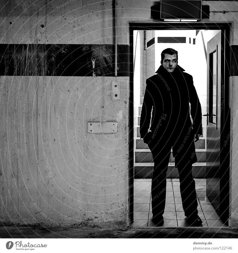 23 Man Fellow Cold Winter Dark Garage Light Hallway Stripe Dirty Line Wall (building) Wall (barrier) Concrete Subsoil Cellar Coat Pants Footwear Search