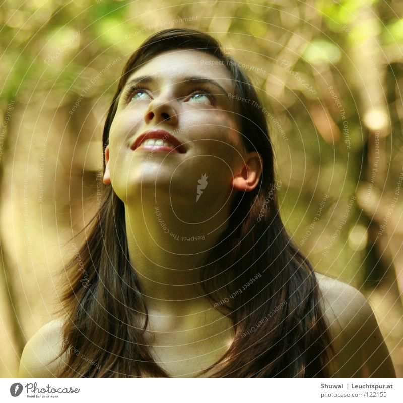 Woman Youth (Young adults) Beautiful Joy Face Forest Feminine Religion and faith Head Hair and hairstyles Laughter Dream Contentment Skin Mouth Esthetic