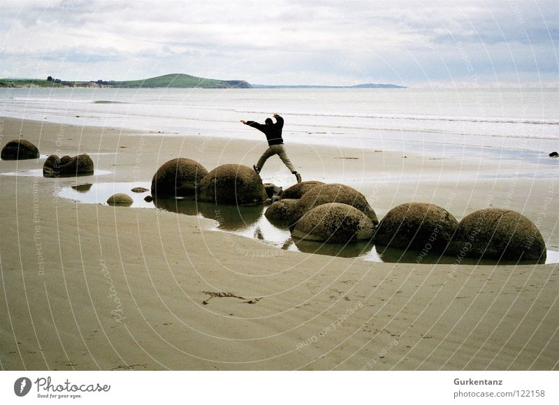 Man Ocean Beach Autumn Jump Stone Sand Coast Ball Balance New Zealand Minerals South Island Moeraki Moeraki Boulder