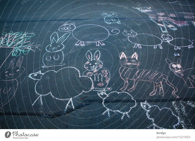 Escape from the petting zoo Art Street painting Image Chalk drawing Group of animals Animal family Movement Going Crouch Walking Looking Esthetic Authentic Free