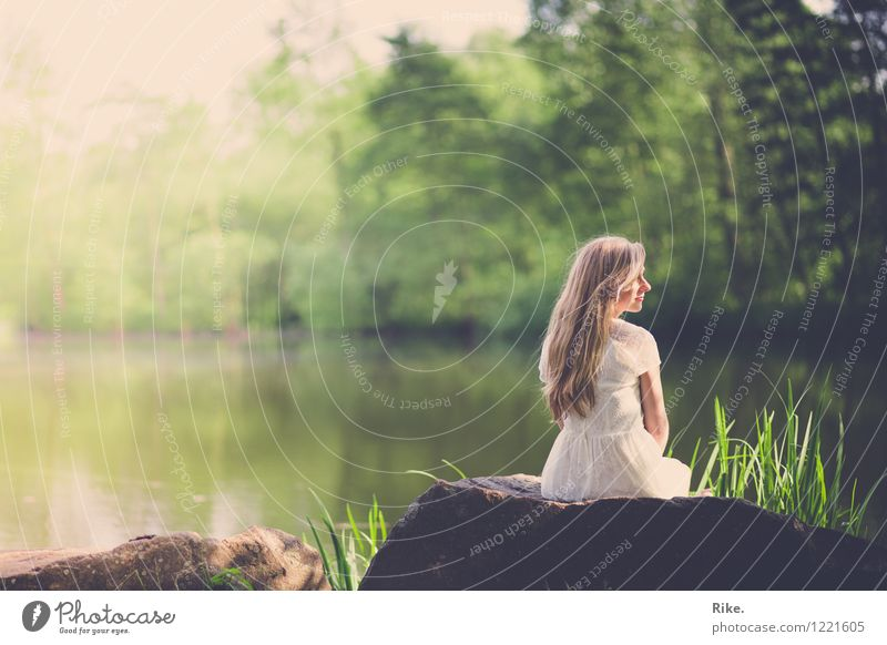 Memory. Human being Feminine Young woman Youth (Young adults) Adults 1 18 - 30 years Environment Nature Landscape Water Summer Park Lake Dress Blonde