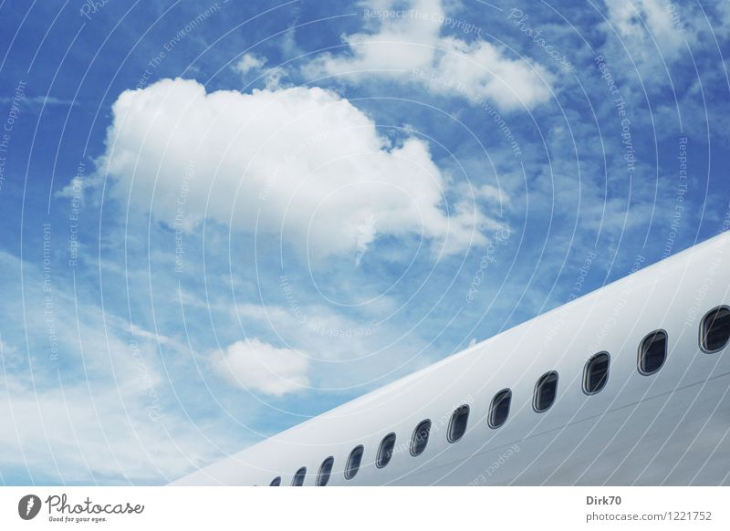 Sky Vacation & Travel Blue Summer White Clouds Far-off places Black Airplane window Flying Dream Tourism Elegant Aviation Technology