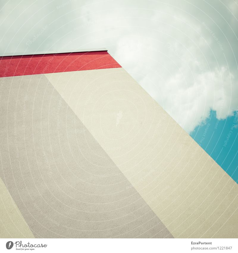 Sky City Blue White Red Clouds House (Residential Structure) Wall (building) Architecture Style Building Wall (barrier) Gray Line Bright Facade