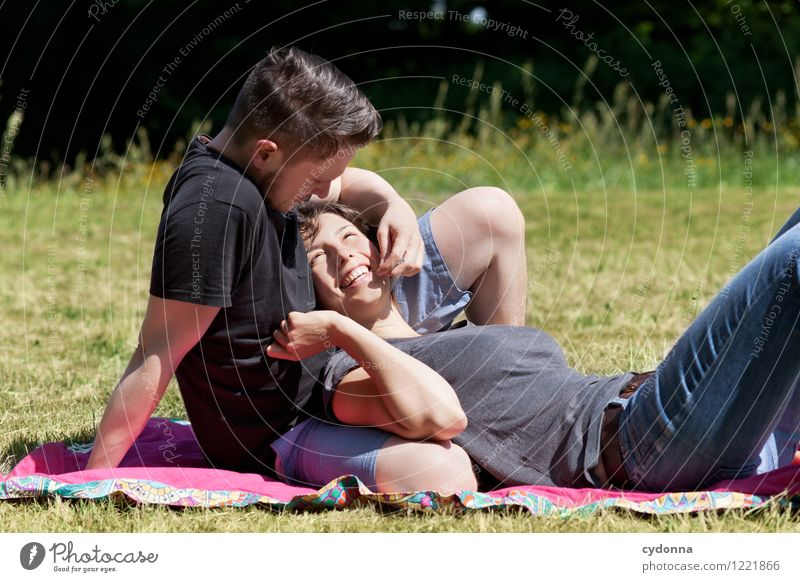 Together Lifestyle Healthy Harmonious Human being Young woman Youth (Young adults) Young man Couple Partner 18 - 30 years Adults Nature Summer Meadow