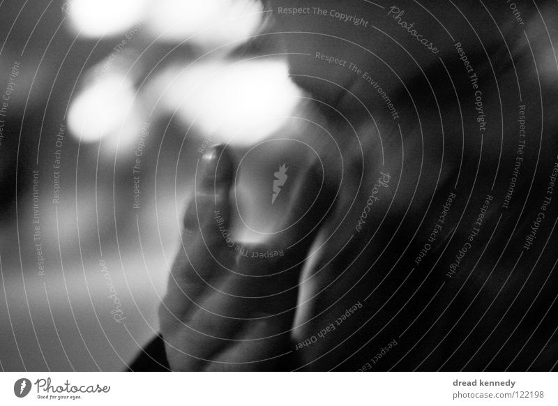 desperado Black & white photo Exterior shot Close-up Copy Space left Evening Silhouette Motion blur Central perspective Downward Life Human being Masculine Man