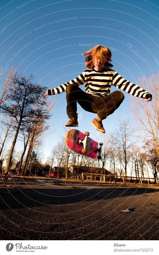 360 Flip III Moody Action Skateboarding Contentment Kickflip Jump Striped Tar Concrete Light Tree Wide angle Youth (Young adults) Sports Puddle Reflection Speed
